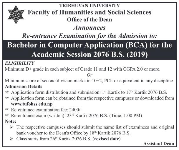TU BCA Re-entrance notice for 2076 batch